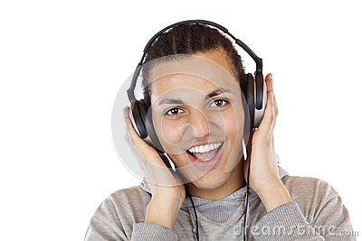 Happy man with headphones listens to mp3 music
