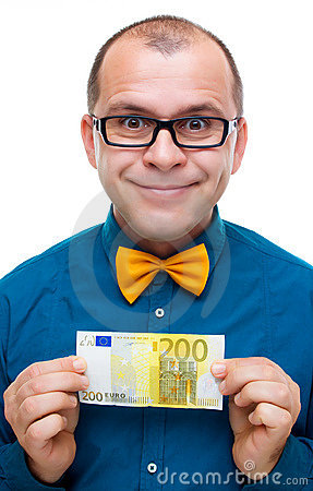Happy man holding 200 euros