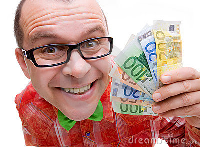 Happy man holding euro money