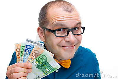 Happy man holding european money