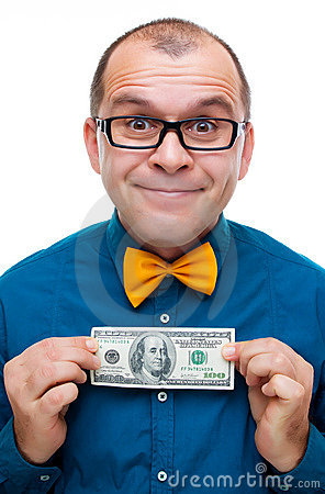 Happy man holding hundred dollars