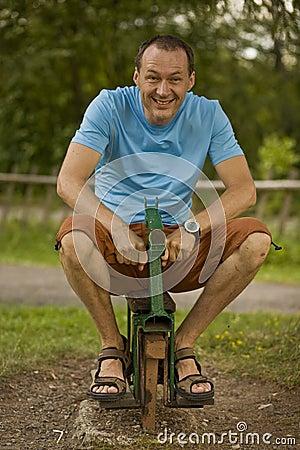 Happy man horse riding