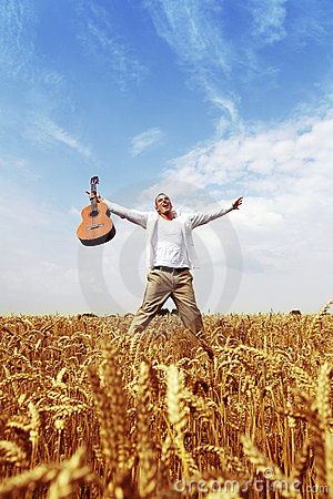 Free Happy Man Jumping In A Wheat Field Stock Photos - 10563393