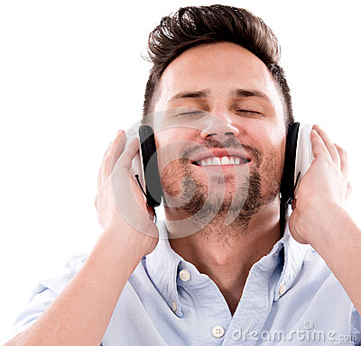 Happy man listening to music