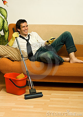 Happy man with mop