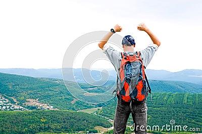 Happy man on the mountain