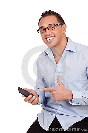Happy man pointing to his mobile phone