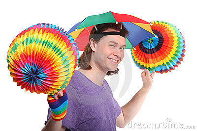 Happy man with rainbow hat umbrella