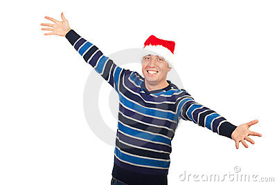 Happy man with Santa hat open arms