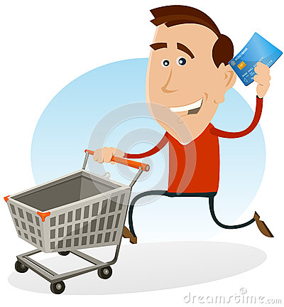 Free Happy Man Shopping With Credit Card Royalty Free Stock Image - 26720356