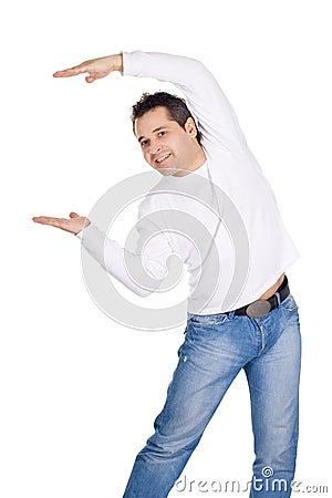Happy man showing