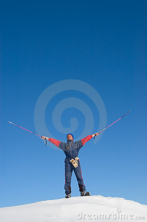 Happy man in snowshoe