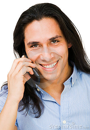 Happy man talking on mobile