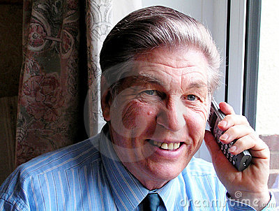 Happy man on telephone