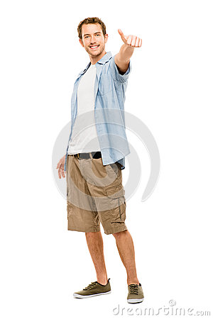 Happy man thumbs up white background
