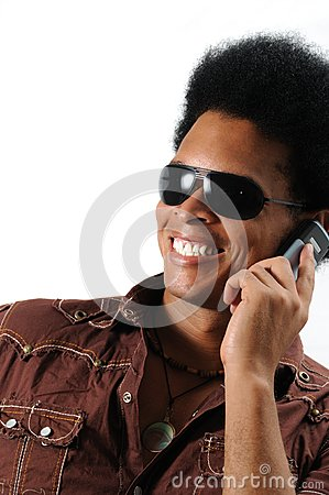 Happy man using cell phone