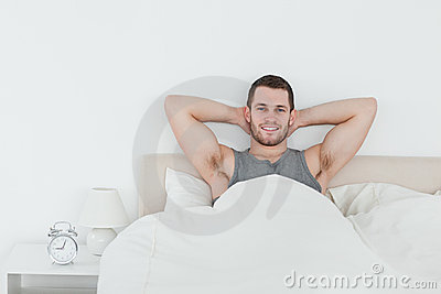 Happy man waking up