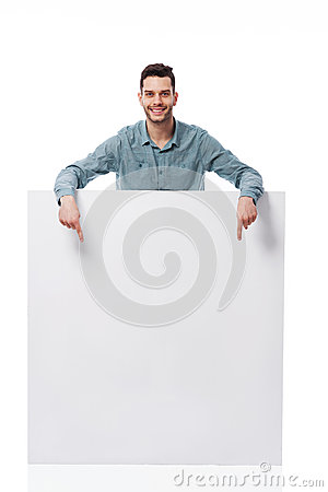 Happy man with white board