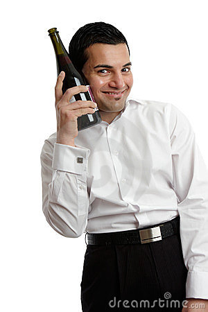 Happy man with wine bottle stock photography image 24054162