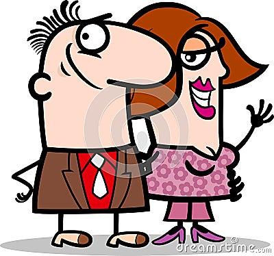Happy man and woman couple cartoon
