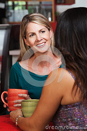 Happy Mature Blond Woman with Friend