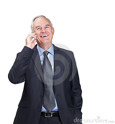 Happy mature business man using a mobile phone
