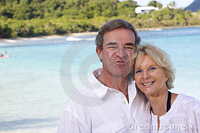 Happy mature couple in the tropics