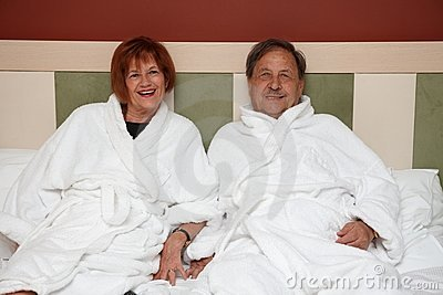 Happy mature couple at wellness hotel