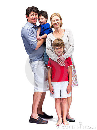 Happy mature family standing together
