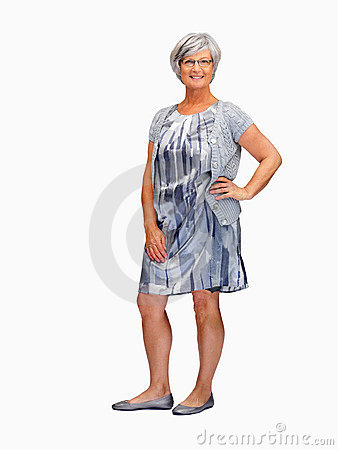 Happy Mature Female Posing On White Backgro Royalty Free Stock Images - Image: 11104969