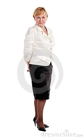 Happy mature lady isolated over white