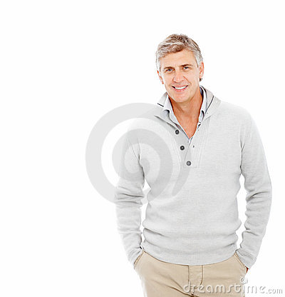 Happy mature man with his hands in his pockets