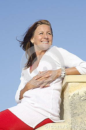 Happy mature woman positive outdoor