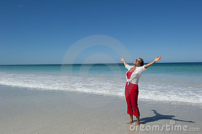 Happy Mature Woman at Tropical Beach