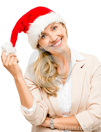 Happy mature woman wearing santa hat for christmas isolated on w