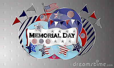 Happy Memorial Day background template. Stars and American flag. Patriotic banner. Vector illustration. Vector Illustration