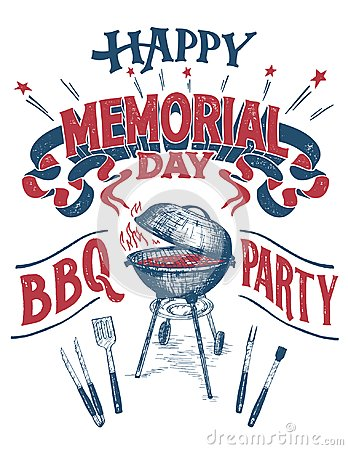 Free Happy Memorial Day Barbecue Party Sign Stock Images - 115960984