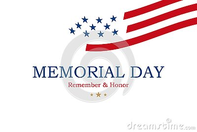 Happy Memorial Day. Minimalistic greeting card with USA flag on white background. National American holiday event. Flat vector Cartoon Illustration