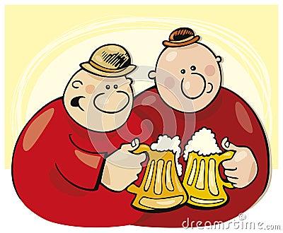 Happy men drink beer