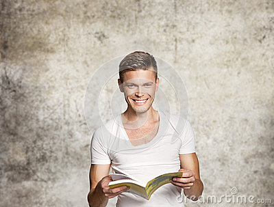 Happy men reading