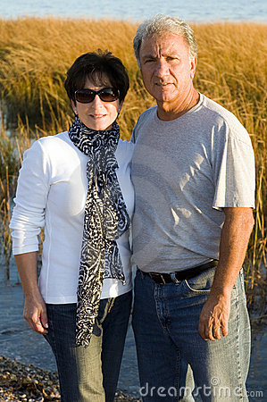 Free Happy Middle Age Senior Couple On Beach Royalty Free Stock Photos - 11790298