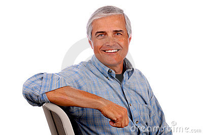 Happy Middle Aged Man arm on chair back