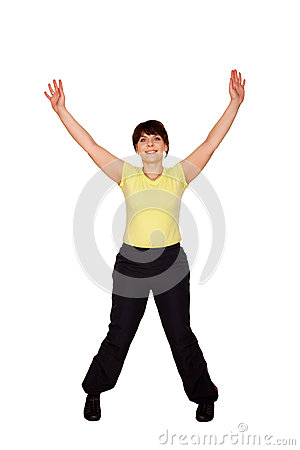 Happy middle-aged woman jumping and waving her arms