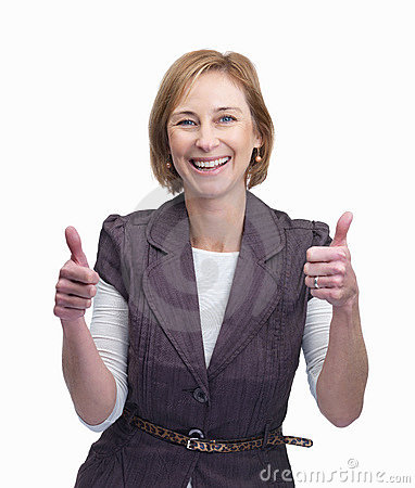 Happy middle aged woman showing a thumbs up sign