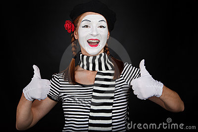Happy Clown Showing Thumbs Up Happy Mime Makeup