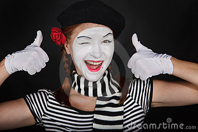 Sad Clown With Red Rose Happy Mime Makeup