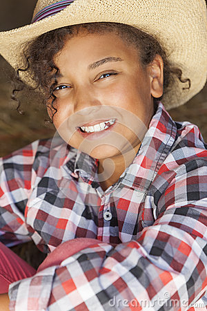 Free Happy Mixed Race African American Girl Child Cowboy Hat Royalty Free Stock Photos - 33417428