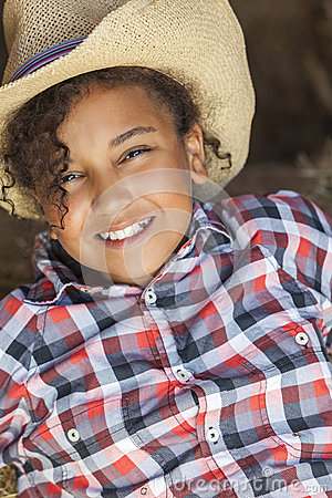 Free Happy Mixed Race African American Girl Child Cowboy Hat Royalty Free Stock Photos - 33728288