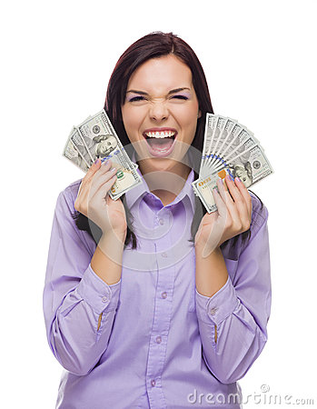 Happy Mixed Race Woman Holding the New One Hundred Dollar Bills