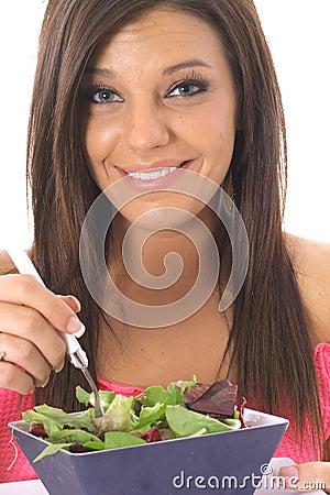 Happy model eating healthy